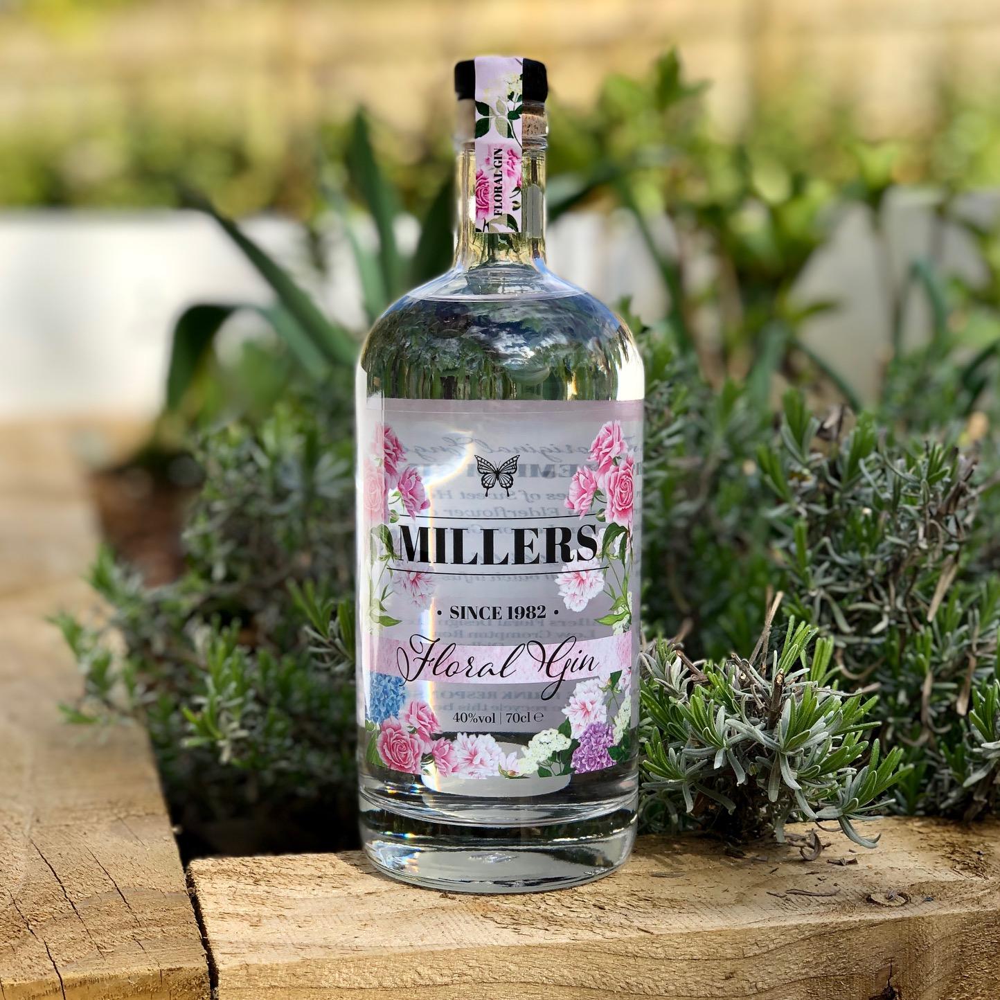 Millers Floral Design Gin label illustration and production