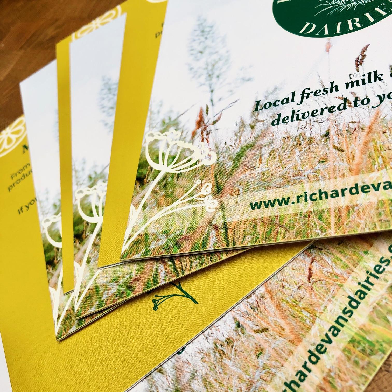 Richard Evans Dairies folded leaflets